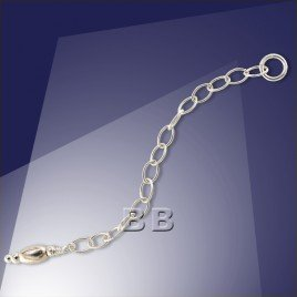 .925 Silver Extender Trace Chain Oval 4x2.5mm Links -60mm