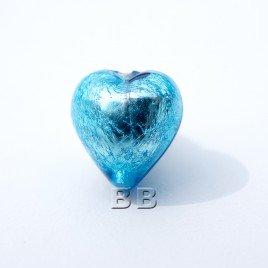Aquamarine Heart 12mm Silver Foil Czech glass Lampwork Bead