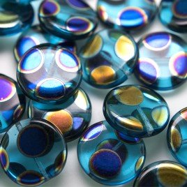 Aquamarine Peacock Disc 17mm Pressed  Glass Bead - Retail system