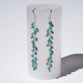 Atlantis Rose seed bead charm earrings 70mm in .925 silver