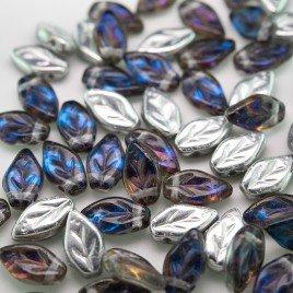 Bermuda Blue wavy leaf 10x6mm glass bead.