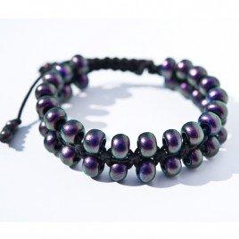 Black Current Iridescent Macramé Bead Bracelet