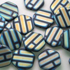 Black Peacock Matt Hexagon 17mm Pressed Czech Glass Bead