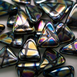 Black Peacock Triangle 15x19mm Pressed Glass Bead - Retail system