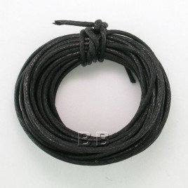 Black Polished Cotton Cord 1.00mm Dia