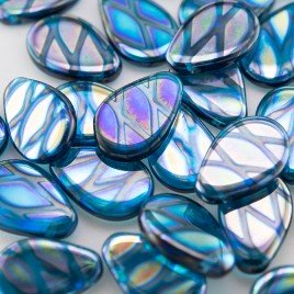 Blue Atoll Peacock 12x18mm drop pressed Czech glass bead