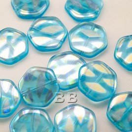 Blue Pearl Hexagon 17mm Pressed Czech Glass Bead - Retail system