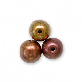 Brushed Mixed Copper metallic 4mm round Czech glass druk beads