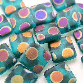 Ceramic Peacock Matt 15x15mm Square Czech Glass bead