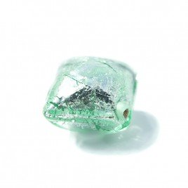 Chrysolite 12x12mm Diamond shaped Cushion Silver foil Czech glass Lampwork Bead