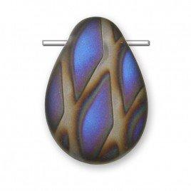 Clear Peacock Matt 12x18mm Drop  pressed glass bead - Retail system