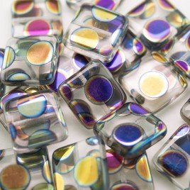 Clear Peacock Square 15x15mm Pressed Glass Bead