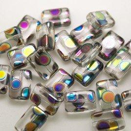 Clear Rainbow Peacock Rectangular 12x8mm Pressed Czech Glass Bead - Retail system