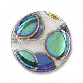 Clear Spot Peacock Disc 17mm Pressed Czech Glass Bead