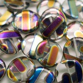 Clear Stripe Peacock  Disc 17mm Pressed Czech Glass Bead