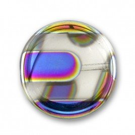 Clear Stripe Peacock  Disc 17mm Pressed Czech Glass Bead