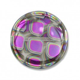 Clear Tess Peacock Disc 17mm Pressed Czech Glass Bead
