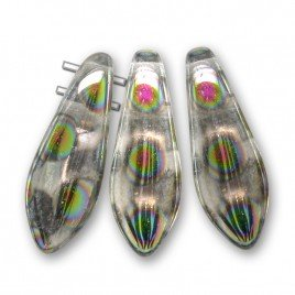 Clear with Lustre 2-Hole 5x16mm dagger bead, shaped glass  drops. Fierce fun!