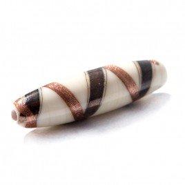 Cream Elegant Oval 27x7mm Czech Lampwork Beads