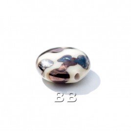 Cream Lentil 12mm with a copper & Hematite effect Czech glass Lampwork Bead