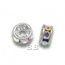 Crystal-AB 4.5-5mm Silver Plate Czech Crystal Rhinestone Rondelle