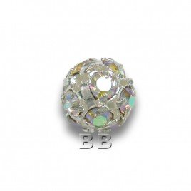 Crystal-AB 6.0mm Silver Plated Czech Crystal Rhinestone Ball