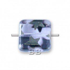 Czech Design Glass, Alexandrite Peacock 10x10mm Square pressed glass bead