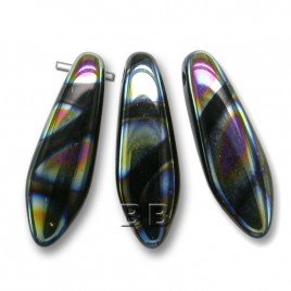 Czech Design glass, Jet glass dagger bead 5x16mm with Peacock Zebra Stripes
