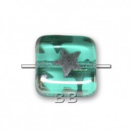 Czech Design glass, Teal Peacock 10x10mm Square pressed glass bead