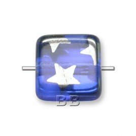 CzechDesign Glass, Sapphire Peacock 10x10mm Square pressed glass bead