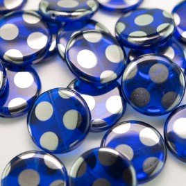 Dark Blue Peacock Disc 17mm Pressed Czech Glass Bead