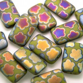 Dark Citron Matt peacock 19x12mm Rectangular Pressed Czech Glass Bead