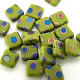 Dark Citron Peacock Matt 10x10mm Square Pressed Czech Glass bead