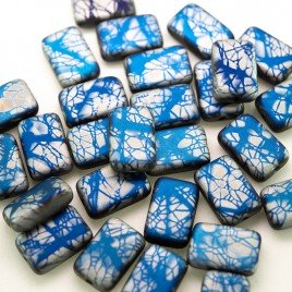 Strong Blue Batik 12x8mm matt metallic rectangle with a 0.8mm hole.