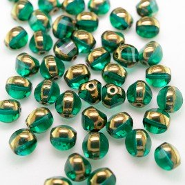 Emerald 8mm Tricon Cut, Golden Finished Fire Polished Glass Bead
