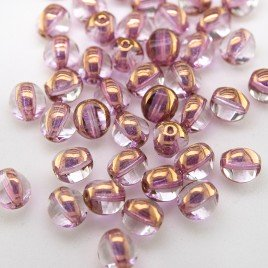 Feather Pink 8mm Tricon Cut, Golden Finished Fire Polished Glass Bead