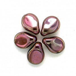 Full Coated Metallic Pink 5x7mm Czech Glass Pips