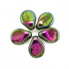 Full Coated Metallic Rosy Apple 5x7mm Czech Glass Pips