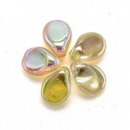 Glass Beads Czech Glass Pip Metallic with apricot tones