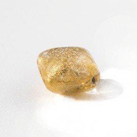 Gold 12x12mm Diamond Cushion Gold Foil Czech Glass Lampwork Bead