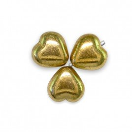 Gold Metallic Heart 6mm Pressed Czech Glass Bead - Retail system