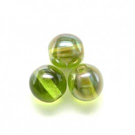 Green Oasis 6mm round Czech glass druk beads - Retail system