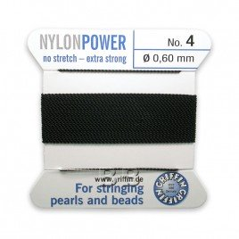 Griffin Nylon Power Bead Cord Black with integral needle 0.60mm Diameter