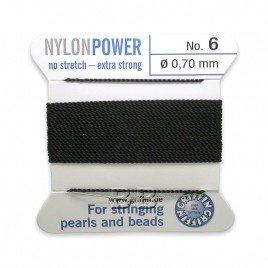 Griffin Nylon Power Bead Cord Black with integral needle 0.70mm Diameter