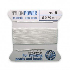 Griffin Nylon Power Bead Cord White with integral needle 0.70mm Diameter