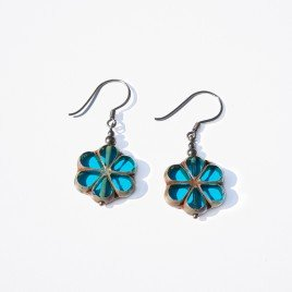 Hawaiian Ocean Florice Bead Earrings - Sterling Silver (black finish) components.
