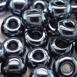 Hematite Metallic glass bead, size 32/0 seed beads - Retail system