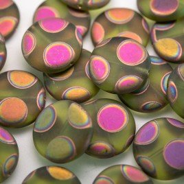 Herbal Garden Matt Peacock Disc 17mm Pressed Czech Glass Bead
