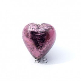 Light Amethyst Heart 12mm Silver Foil Czech glass Lampwork Bead