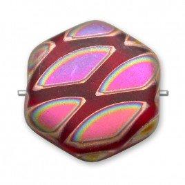 Light Red Peacock Matt Hexagon 17mm Pressed Czech Glass Bead